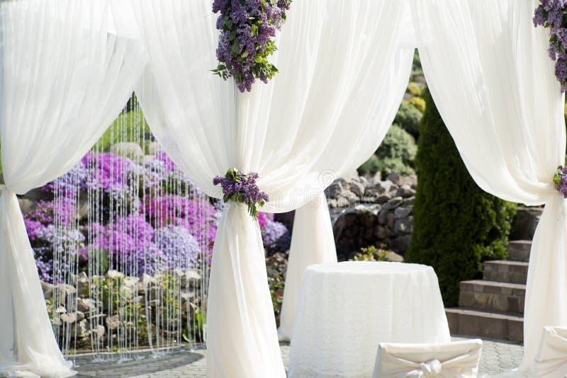 Festive wedding decoration of white fabric closeup royalty free stock image