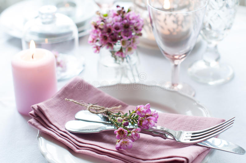 Festive wedding table setting stock photos