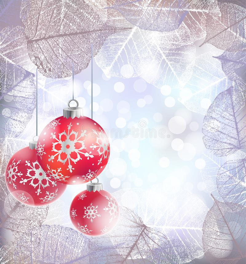 Festive winter background with red holiday balls against bokeh lights and frame of hoarfrost leaves vector illustration