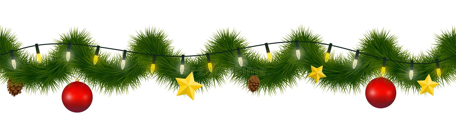 Festive winter garland for websites. Christmas and New Year festoon with coniferous torse, holiday lights, star, glass ornaments a stock illustration