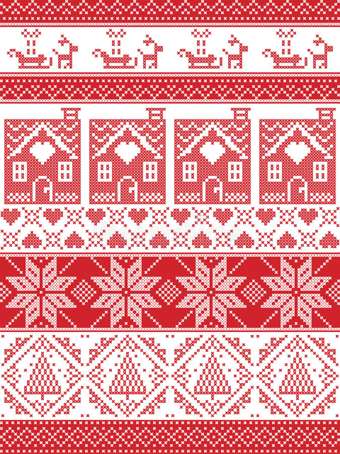 Free Festive Winter Seamless Pattern In Cross Stitch With Gingerbread House, Christmas Tree, Heart, Reindeer, Sleigh, Present, Ornament Stock Photo - 77623200