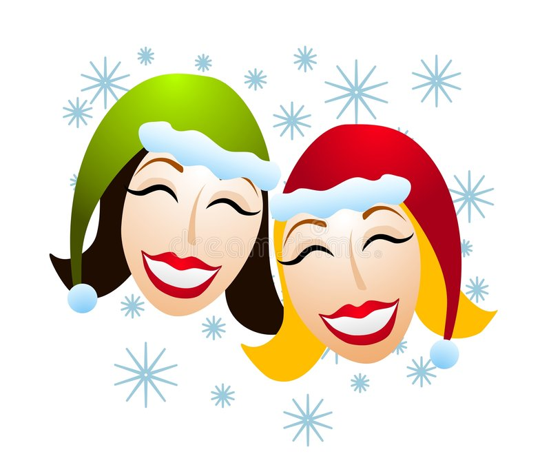Festive Women Santa Hats Snow. A clip art illustration of a pair of happy women wearing santa hats smiling as it snows stock illustration