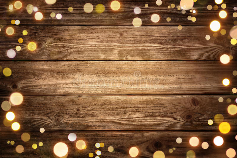 Festive Wooden Background With Lights Stock Image Image