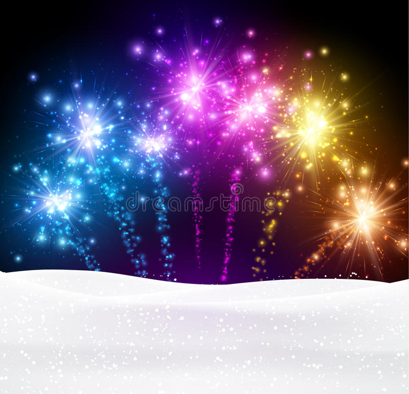 Festive xmas firework background. Festive xmas colour firework background. Vector illustration royalty free illustration