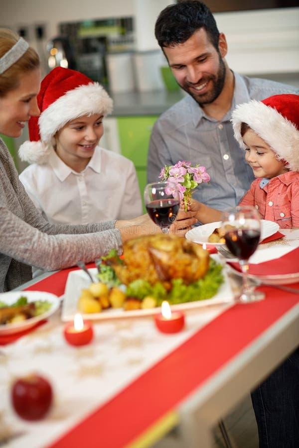 Festively Christmas dinner stock photos