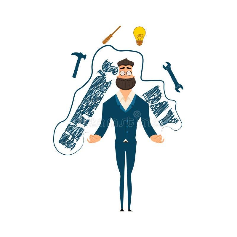 Festività del giorno del ` s del padre Illustrazione di vettore Uomo d'affari handyman royalty illustrazione gratis
