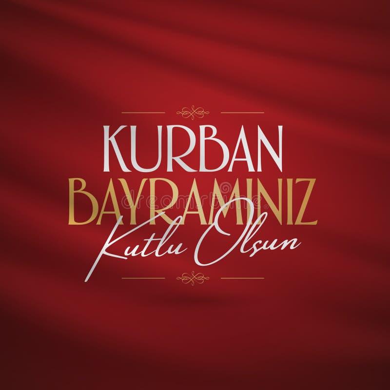 Festività del Sacrif Eid al-Adha Mubarak Feast del turco di saluto di sacrificio: Giorni santi di Kurban Bayraminiz Kutlu Olsun d illustrazione di stock