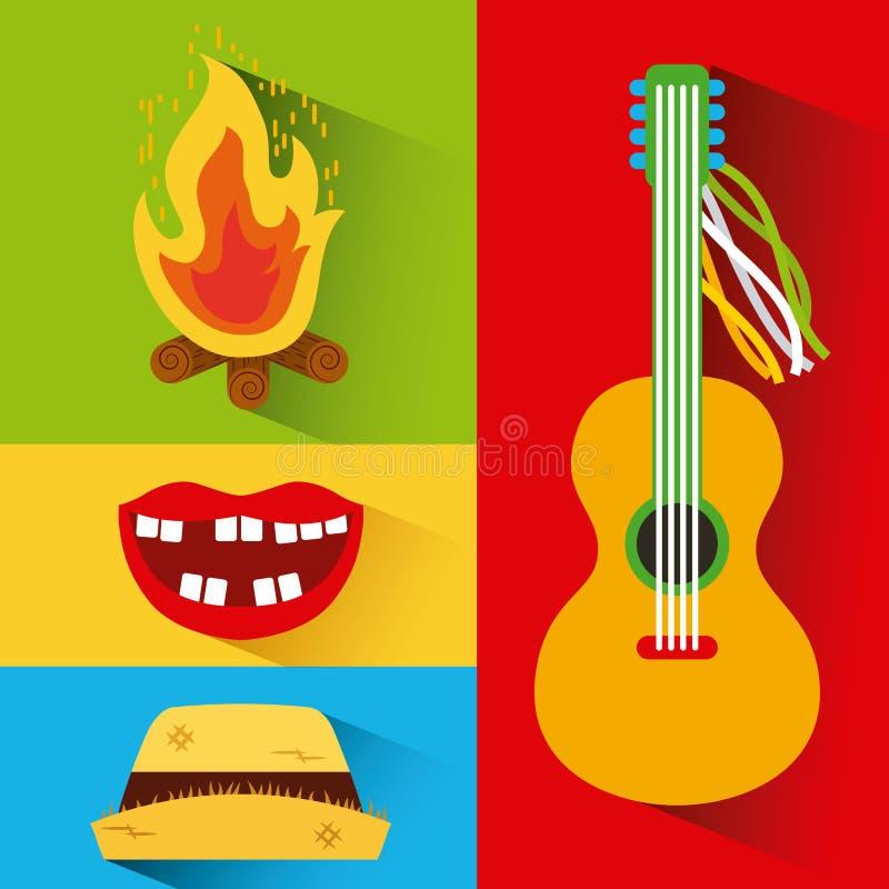 Festivité de junina de mosaïque illustration de vecteur