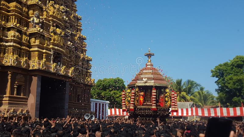 Festivities. The famous chariot festival at the Nallur Kandaswamy temple situated in Jaffna, Sri Lanka stock images
