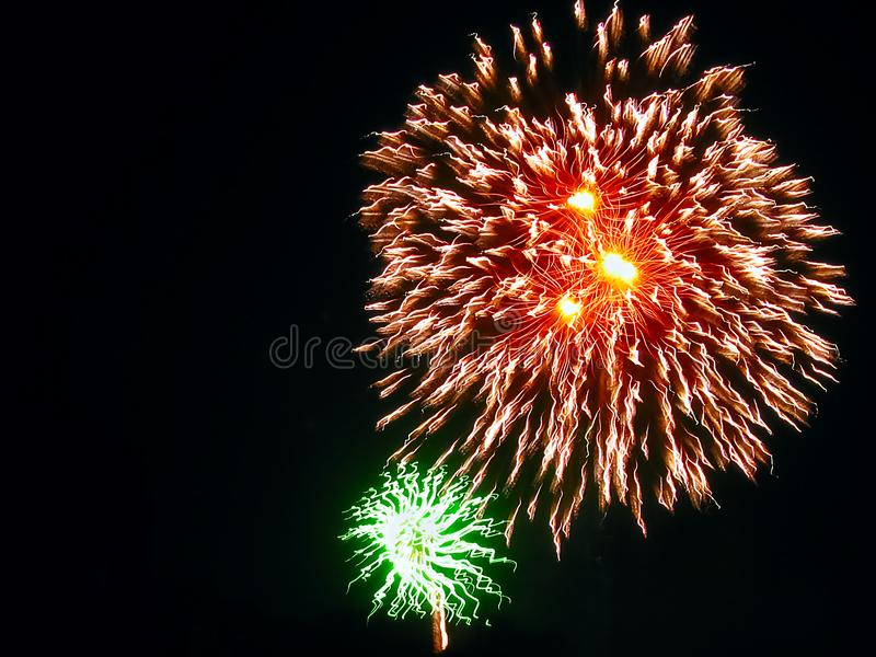 Festivity, Party, Celebration Red and Green Fireworks royalty free stock image