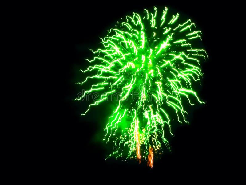Festivity, Party, Celebring Green and Orange Fireworks arkivfoton