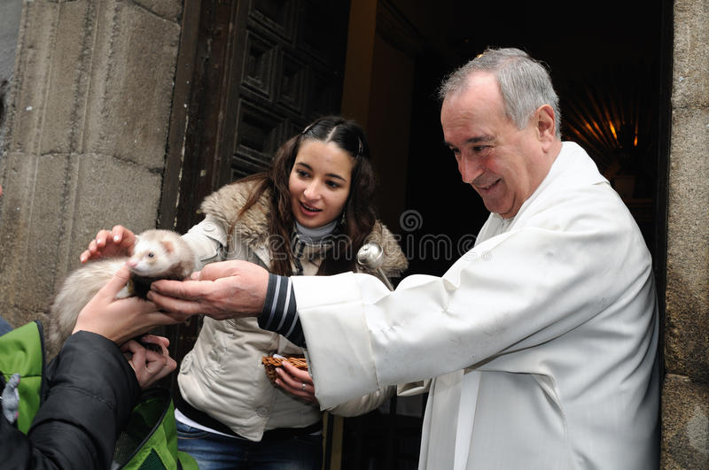 Festivity of St.ANTON . Madrid.SPAIN. Madrid , SPAIN - 17 JANUARY ,2011. - SAN ANTON Church Festivity of St. Anton ( Animals Patron ) on January 17 royalty free stock images