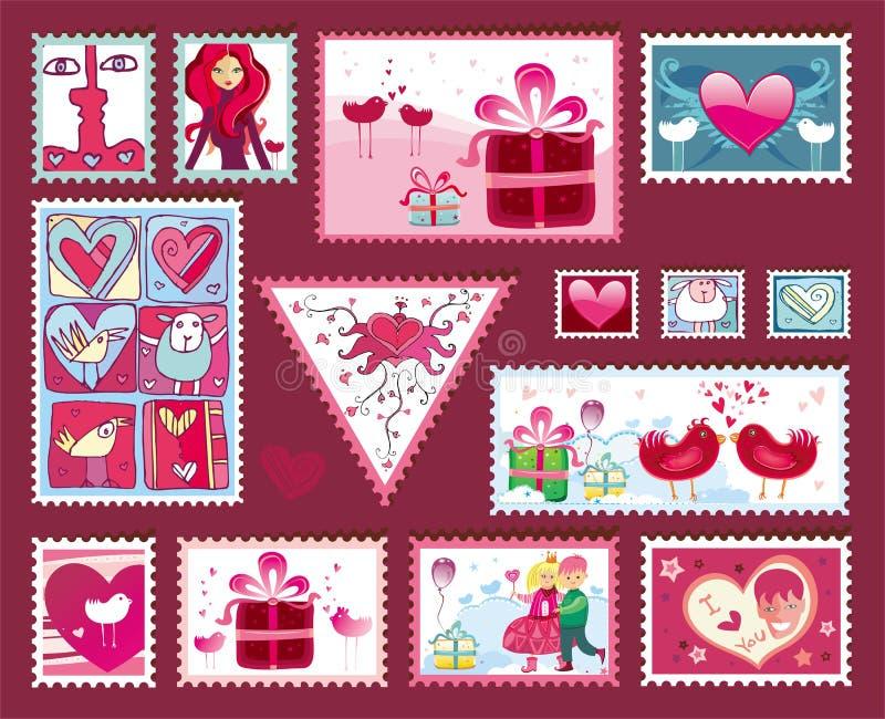 Festivo los sellos de la tarjeta del día de San Valentín libre illustration
