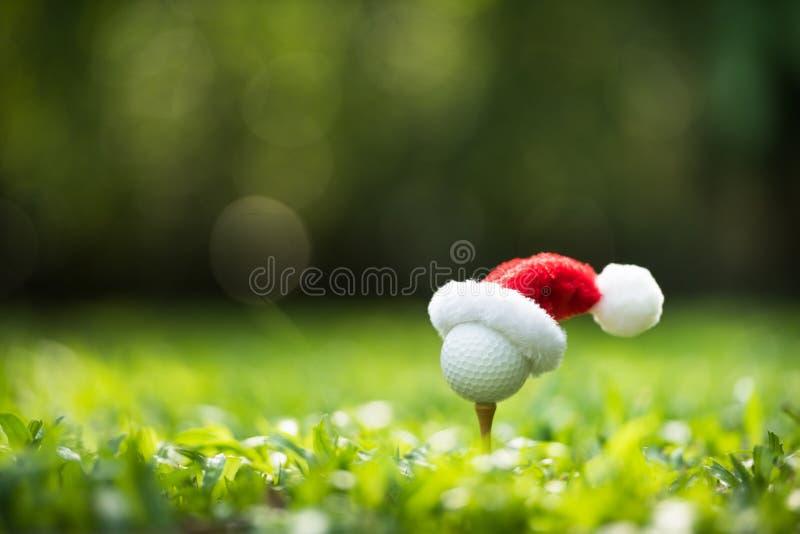 Festivo-olhando a bola de golfe no T com chapéu de Papai Noel fotos de stock royalty free