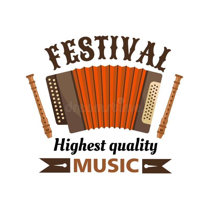 Festiwal muzyki odizolowywający wektorowy etykietka emblemat royalty ilustracja
