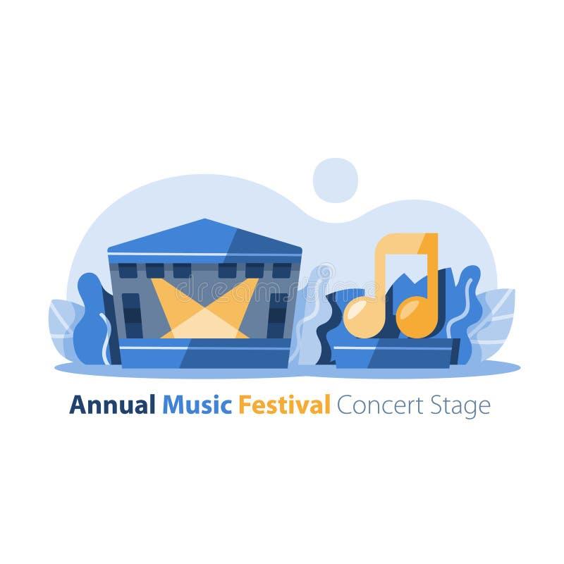 Festiwal muzyki, plenerowa koncertowa scena z gabled dachem, rozrywka występ, świąteczny wydarzenia przygotowania royalty ilustracja