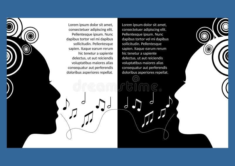 Festiwal muzyki ulotka, ulotka Monochromatyczny symmetric projekt, czarny i biały Kobiety twarzy profil ciie out, muzykalne notat royalty ilustracja