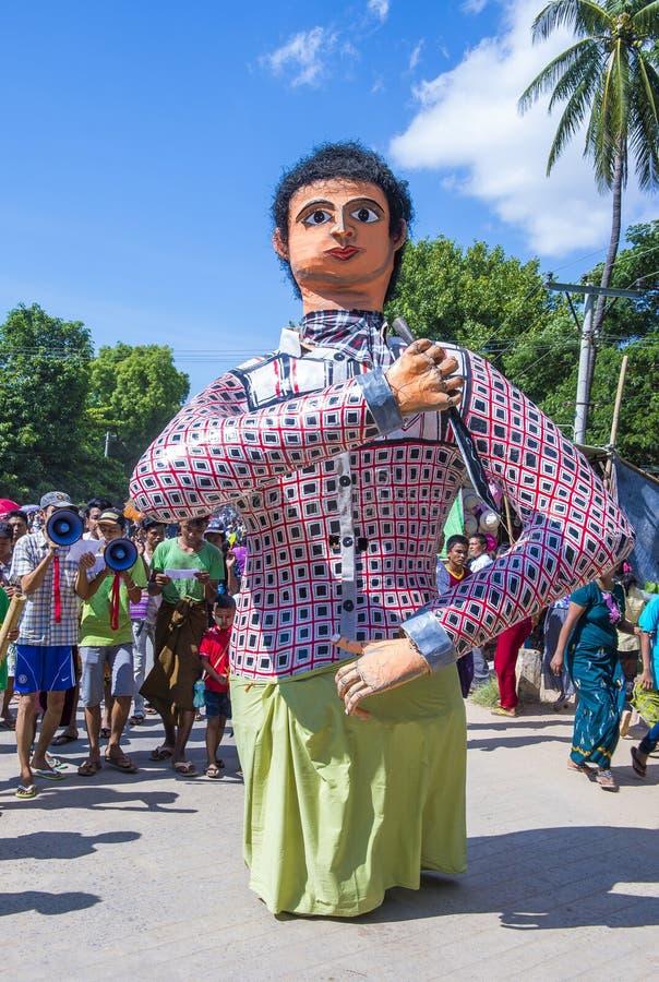 Festiwal w wiosce blisko bagan Myanmar obrazy royalty free