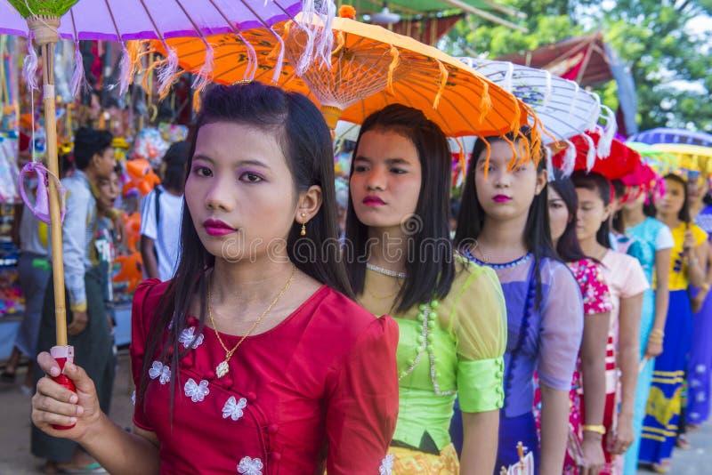 Festiwal w wiosce blisko bagan Myanmar zdjęcie stock