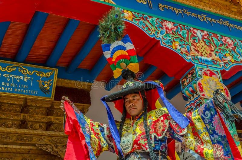 Festiwal Zamaskowany taniec w Takthok monasterze, India fotografia stock