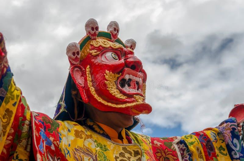 Festiwal Zamaskowany taniec w Takthok monasterze, India obrazy royalty free