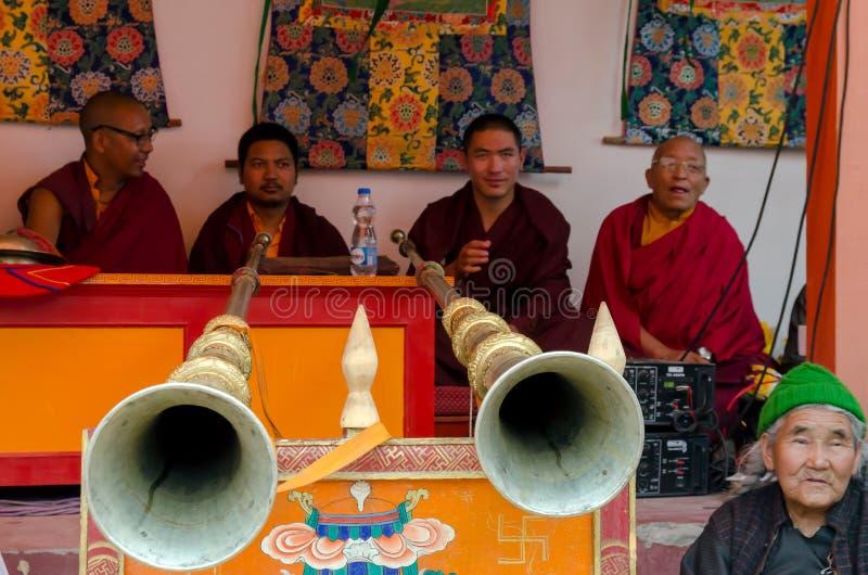 Festiwal Zamaskowany taniec w Takthok monasterze, India zdjęcia stock