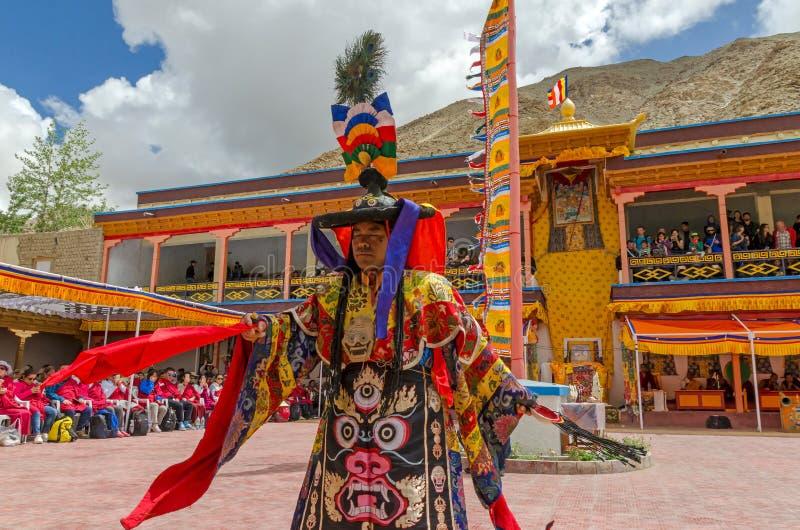 Festiwal Zamaskowany taniec w Takthok monasterze, India obraz royalty free