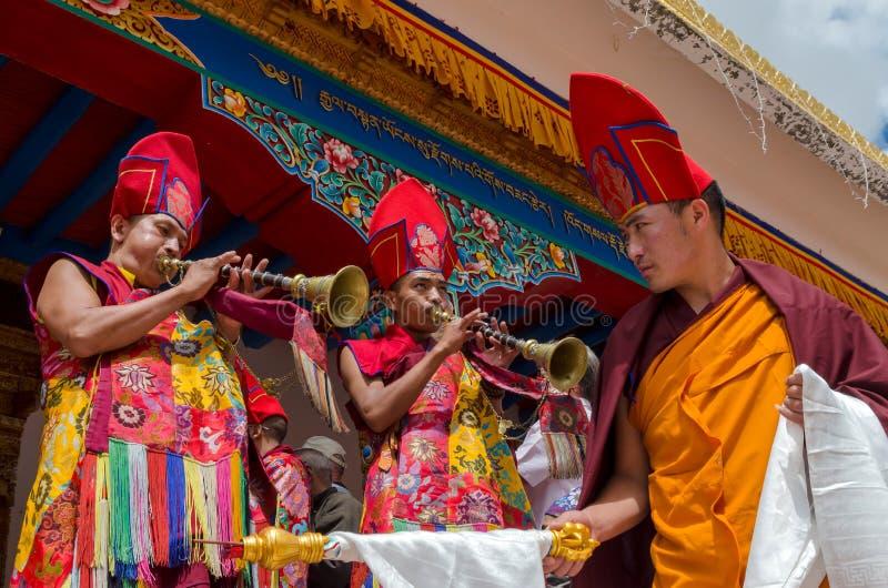 Festiwal Zamaskowany taniec w Takthok monasterze, India fotografia royalty free