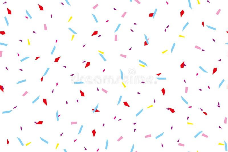 Festiwalu bezszwowy wzór z confetti Wielostrzałowy tło, wektorowy ilustracyjny Prostokątny horyzontalny ilustracji