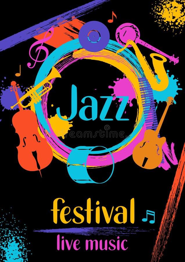 Festiwalu jazzowego muzyka na żywo retro plakat z instrumentami muzycznymi royalty ilustracja