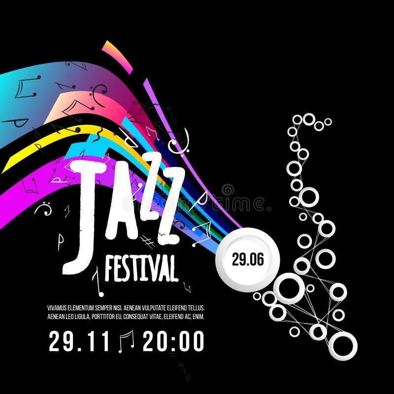 Festiwalu jazzowego plakata szablon Jazzowa muzyka saksofon Międzynarodowy jazzowy dzień spokojnie redaguje projekt elementów wek royalty ilustracja