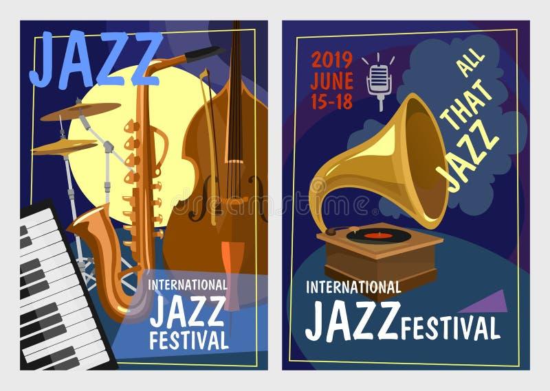 Festiwalu jazzowego projekta pojęcie Kolorowi jazzu przyjęcia zaproszenia plakaty ustawiający w kreskówce projektują r?wnie? zwr? ilustracja wektor