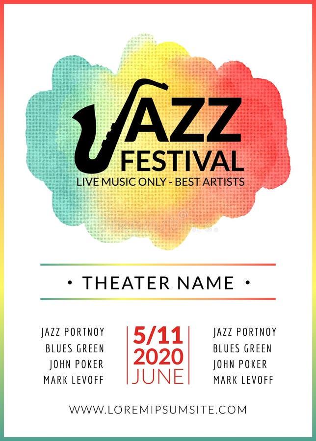 Festiwalu jazzowego tła wektorowy plakat Ulotka projekta muzyki szablon Muzykalna festiwalu wydarzenia ulotka ilustracji