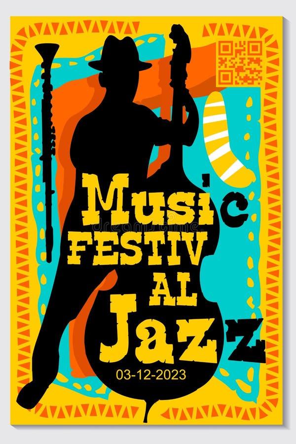 Festiwalu Muzyki Plakatowego projekta Wektorowy Jazzowy instrument ilustracja wektor