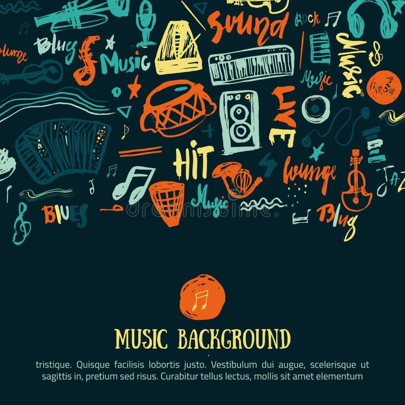 Festiwalu muzyki wektoru tło Może używać dla printable koncertowej promoci z literowania i doodle rzeczami ilustracja wektor