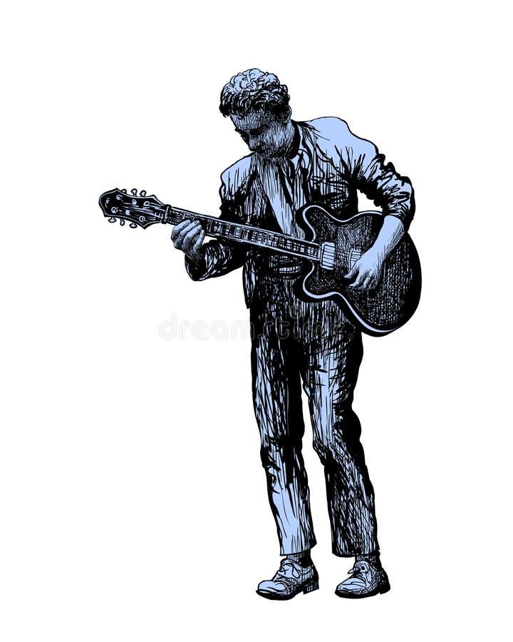Festiwalu muzykiego t?o dla przyj?cia, koncerta, jazzu, rockowego festiwalu projekta z muzykiem, gitarzysty i lataj?cych ptak?w, royalty ilustracja