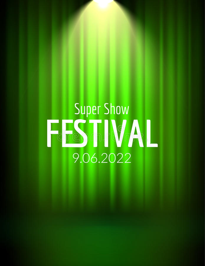 Festiwalu przedstawienia plakat z światłem reflektorów koncertowy wydarzenie, teatru przedstawienia projekt Wektorowa sceny zasło ilustracji