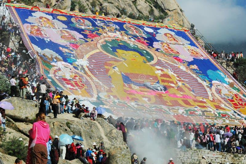 festiwalu shoton Tibet fotografia stock