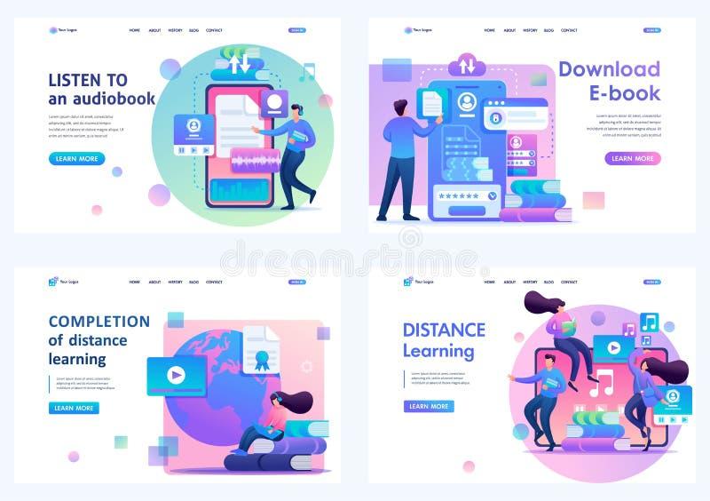 Festlegung von 2D-Flachkonzepten für Fernunterricht und Selbstbildung junger Menschen Für Landing Page Konzepte und Webdesign lizenzfreie abbildung