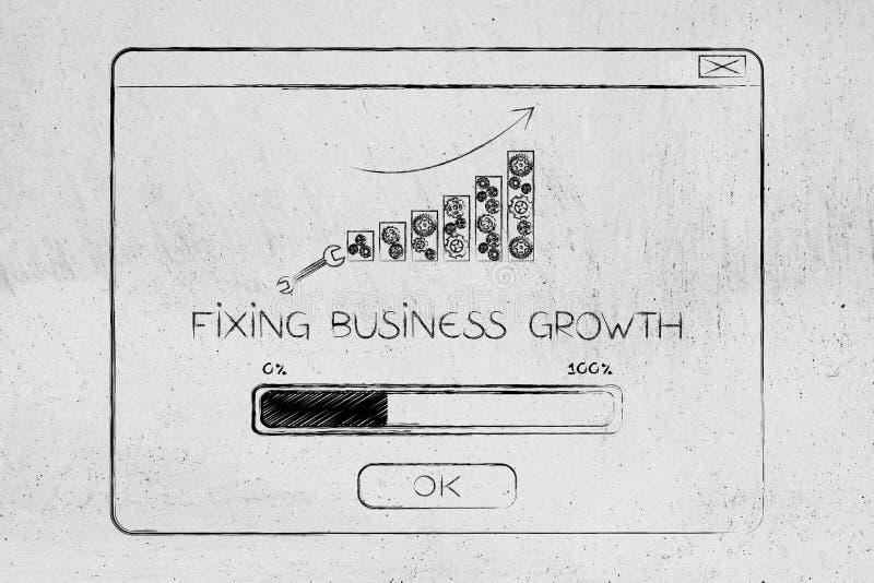 Festlegungsgeschäftswachstums-Knall-obenmitteilung mit Diagramm Stangen und progre lizenzfreie abbildung