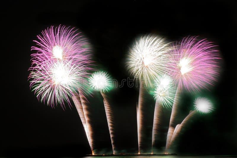Festliche bunte Feuerwerke auf Hintergrund des nächtlichen Himmels Feierlicher Feiertag stockfotografie