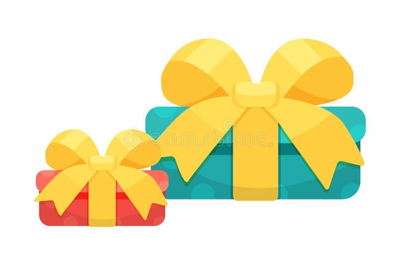 Festliche bunte Geschenkboxen mit schönen dekorativen Bändern lizenzfreie abbildung