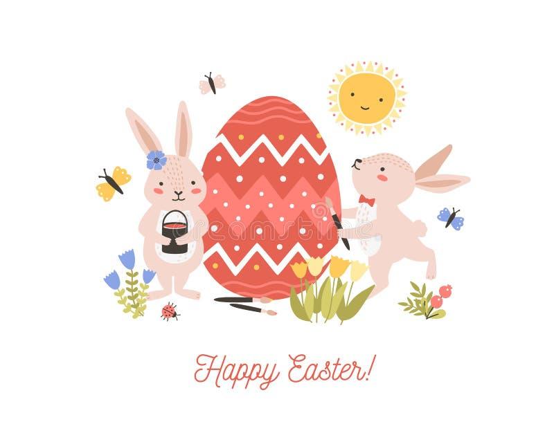 Festliche dekorative Zusammensetzung mit Paaren der entzückenden reizenden Häschen oder der Kaninchen, die riesiges Ei und fröhli lizenzfreie abbildung