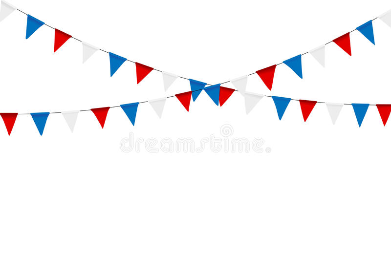 Festliche Flagge der russischen Flagge gegen Parteihintergrund mit Flagge vektor abbildung