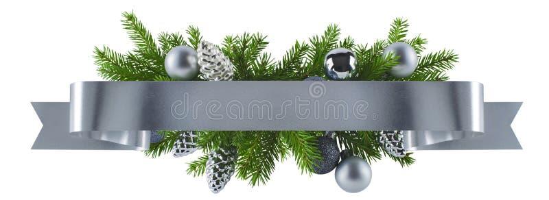 Festliche gerade Bandsilberdekoration für Weihnachten lizenzfreie stockfotos