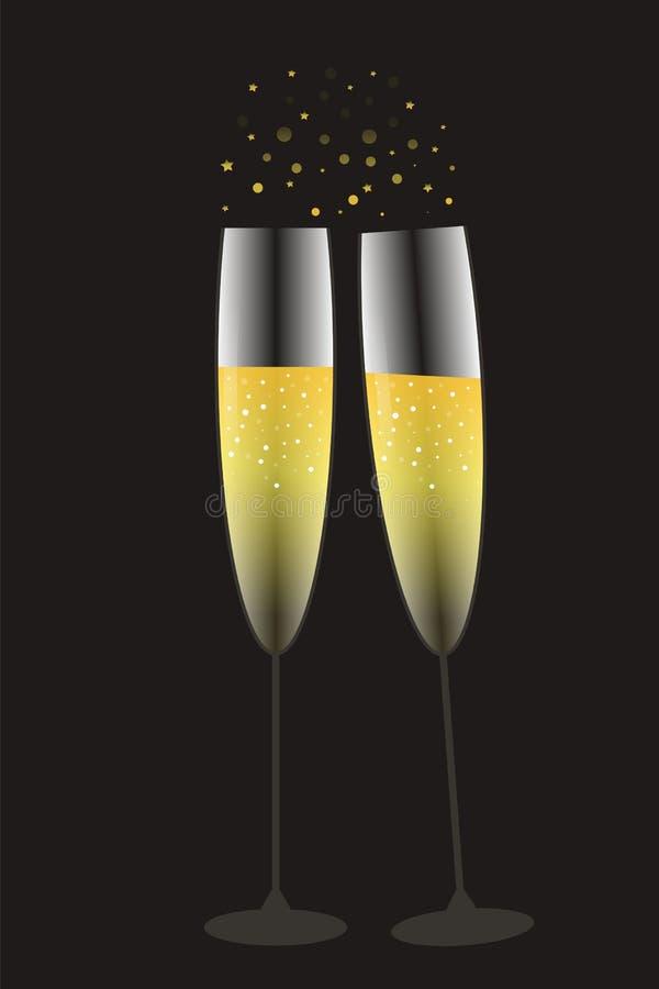Festliche Gläser Champagner im Gold und in den schwarzen collors stock abbildung