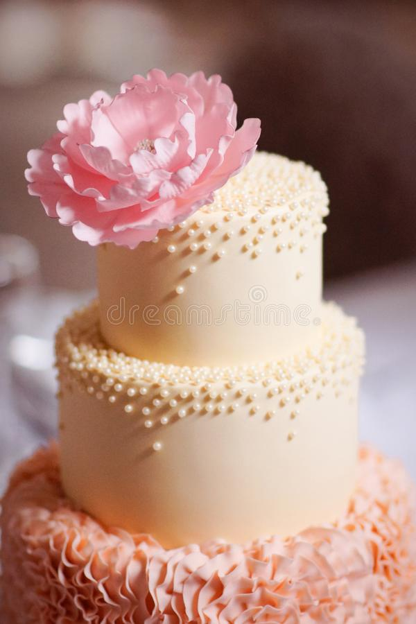 Festliche Hochzeitstorte von einigen Reihen lizenzfreies stockfoto
