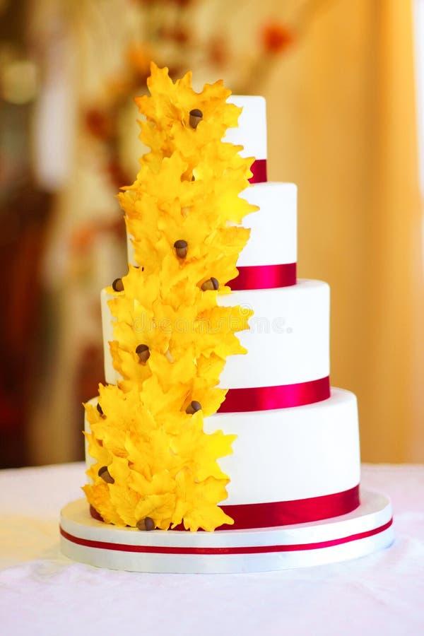 Festliche Hochzeitstorte von einigen Reihen lizenzfreie stockfotos