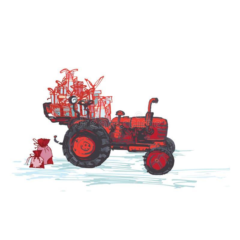 Festliche Karte des neuen Jahres 2019 Roter Traktor mit den Feriengeschenken lokalisiert auf weißem Hintergrund stock abbildung