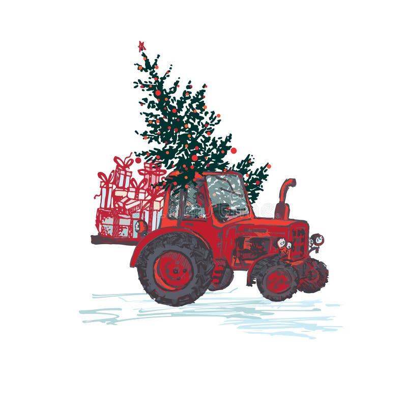 Festliche Karte des neuen Jahres 2019 Roter Traktor mit Tannenbaum verzierte rote Bälle und die Feriengeschenke, die auf weißem H vektor abbildung